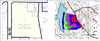 On-Screen takeoff from Site plans and geological survey maps